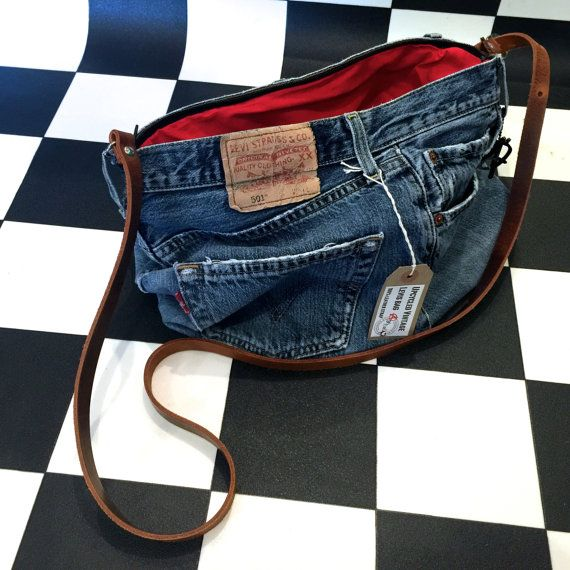 Genuine Levis denim handbag upcycled repurposed from old by AsBeAu