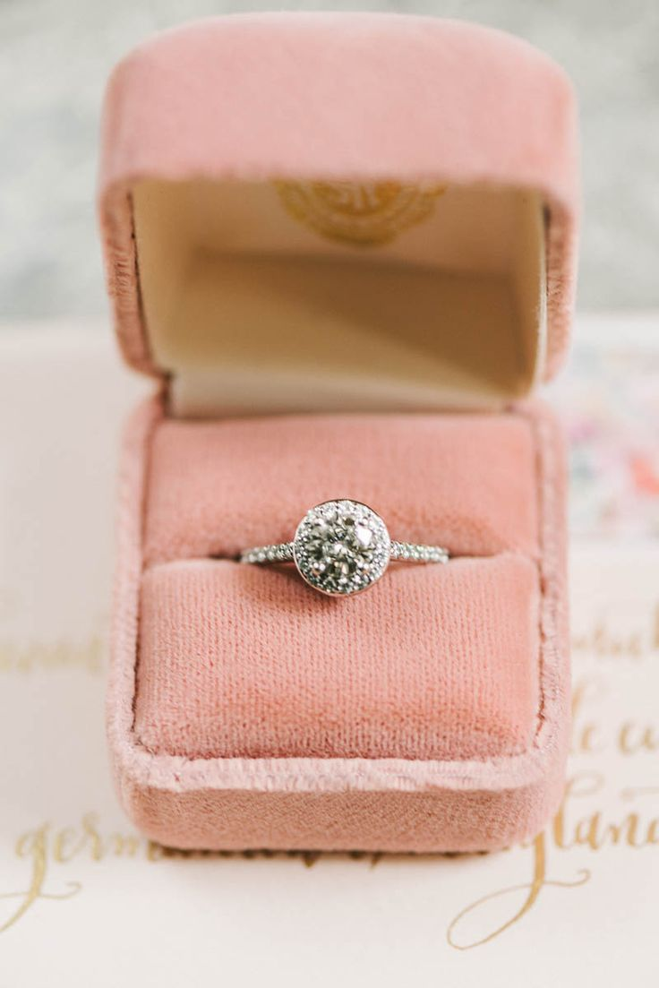 Halo Engagement Ring - A Romantic Vintage Spring Wedding with a Marquee…