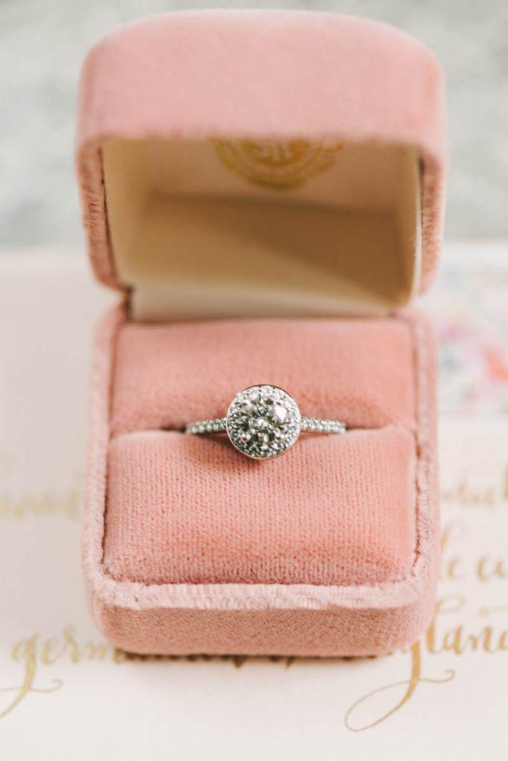 Beautiful halo engagement ring // Photography ~ Elizabeth Fogarty