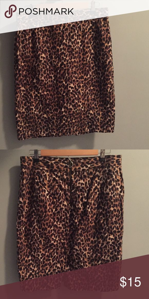 Loft Cheetah Skirt Size 14 fitted skirt with zipper at back and small slit at back bottom Skirts Pencil