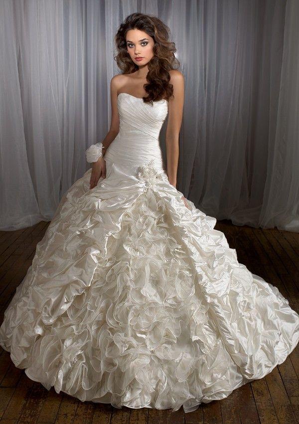 Shantung Softly Curved Neckline Ball Gown Wedding Dress