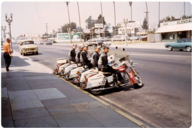 Five Blue Max members on motorcycles :: ONE National Gay and Lesbian Archives