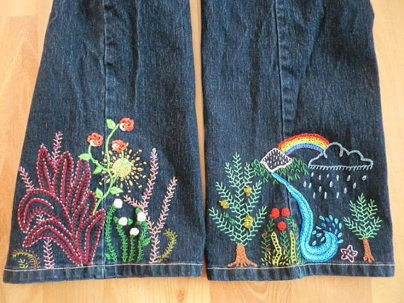 i really really really want to embroider some jeans like this. so cute.