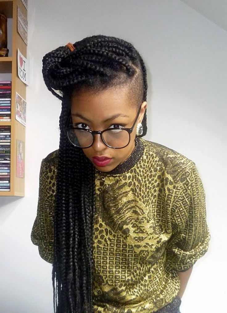 Box Braids With Shaved Sides Braids Braided Hairstyles
