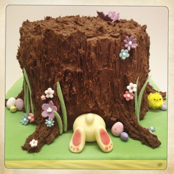 Easter Cake - Bunny going down the hole in the tree stump