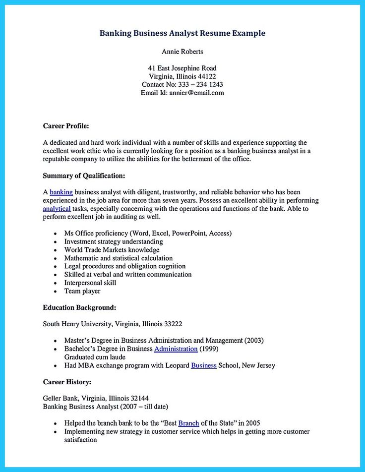 16++ Sample resume business analyst Format