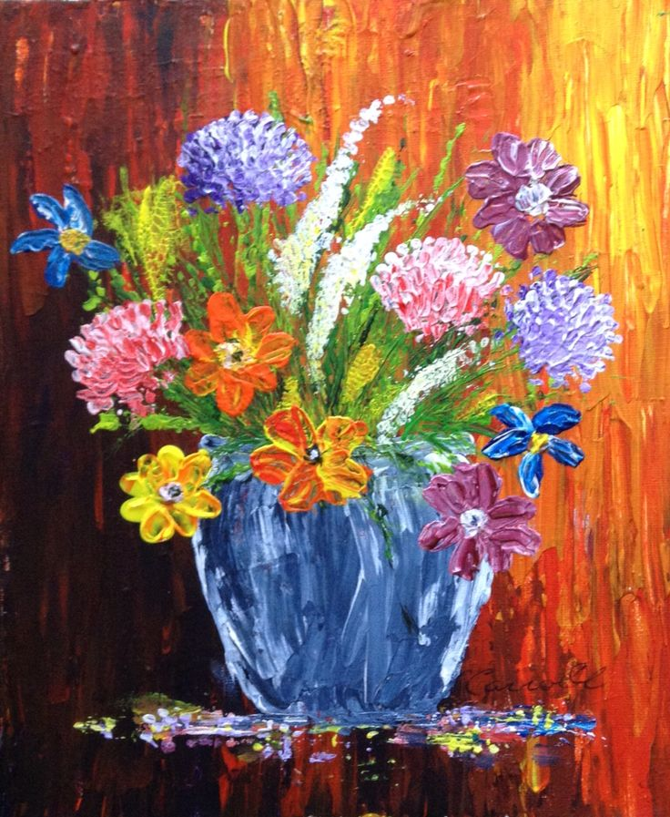 Palette knife painting, acrylics, the other of the pair