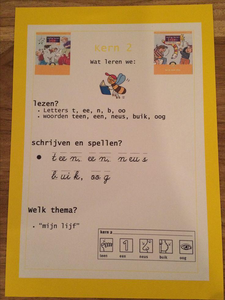 Kern 2. Doelenkaarten per kern voor Veilig Leren Lezen 2e maanversie, om de leerdoelen voor de leerlingen, de ouders en jezelf inzichtelijk te maken. Ik kan je het bestand mailen, achtergrond is gekleurd karton 270 grams, in dit geval in dezelfde kleur als de kern.