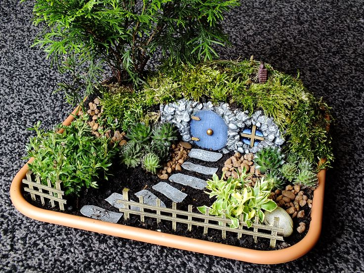Fairy garden with a little hobbit style house