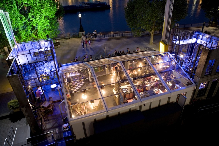 The National Theatre's new pop-up riverfront bar Propstore - open every day from noon for delicious street food. Part of the NT's Inside Out festival.