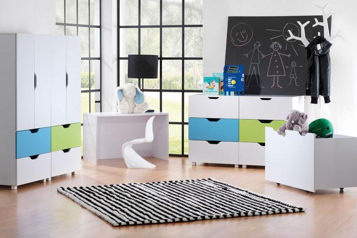 White delight with Flatpax Kids furniture. #kidsfurniture #kidsdrawers #kidsdesk #kidswardrobe