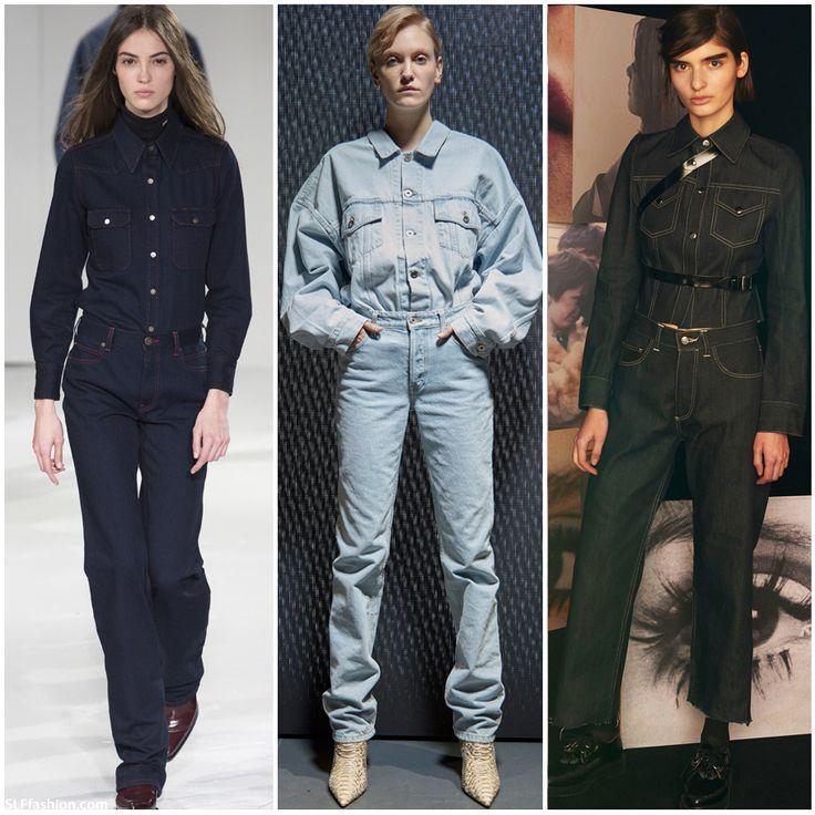 Retro Denim Pant Suit. Calvin Klein Collection, Yeezy Season 5, and Le Kilt Fall Winter 2017.