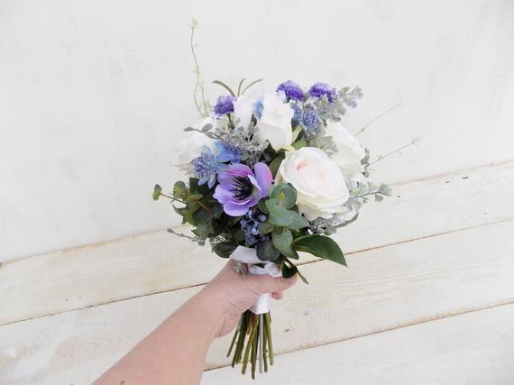 Ramo de novia de flores silvestres azul púrpura ramo de dama de honor flores de seda artificial …