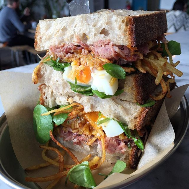 2016 Today's special sandwich is a nod to ham, egg and chips. Slow cooked ham hock, poached egg, shoestring fries & watercress in @pavilionbakery sourdough...