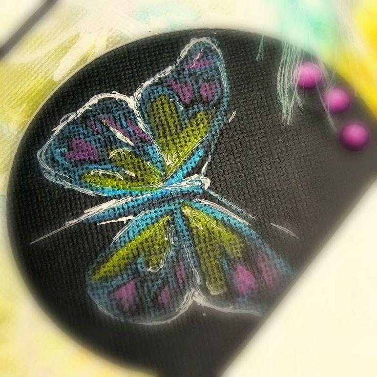 Detail visačky. Bílý inkoust, akvarelové pastelky a bílá gelovka