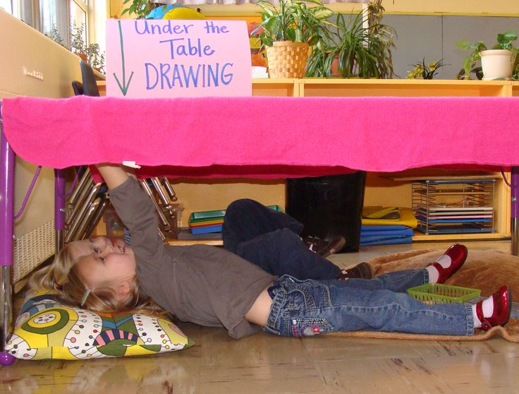 Under the Table Drawing - a favorite from my former classroom. :) #drawing #sensory #kids #art #preschool #classroom