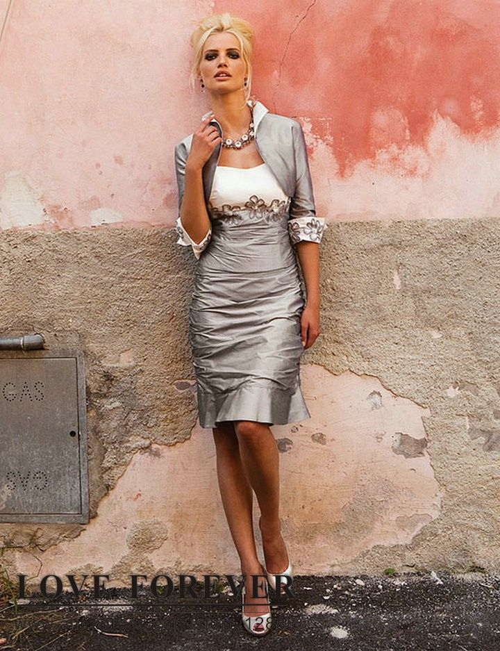 Silver Mother of the Bride | ... White and Silver Taffeta Mother Of The Bride Dress With Jacket 2013
