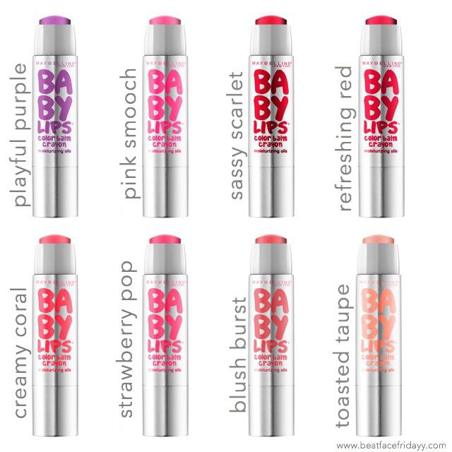 Maybelline Baby Lips Color Balm Crayon Playful Purple, Pink Smooch, Sassy Scarlet, Refreshing Red, Creamy Coral, Strawberry Pop, Blush Burst, Toasted Taupe (Sneak Peek) – beatfacefridayy