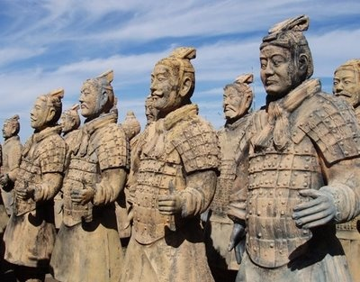 Terracotta warriors from burial site for Qin Shi Huang, who presided over the unification of China in 221 BC and declared himself the first emperor of the nation.