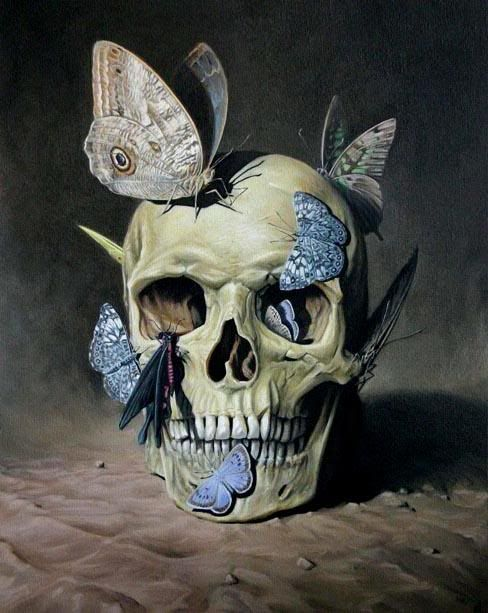 I really like how this has such hard and intense way of showing death with the skull, yet the most delicate way of showing the opposite. Butterflies are so innocent and pure, such a drastic jump from a skull. I think they work really well together in this situation. MT