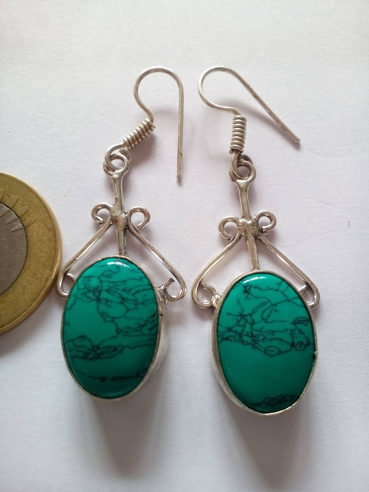 925 Silver Plated Earring, Natural Turquoise Gemstone German silver Earring by bilalGems8 on Etsy