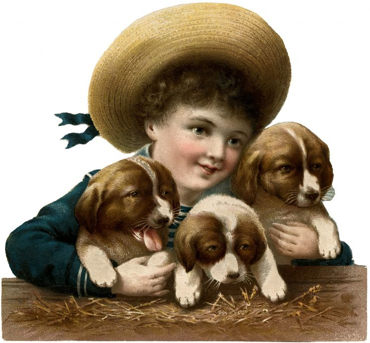 Vintage Puppies Image - with Cute Boy! - The Graphics Fairy