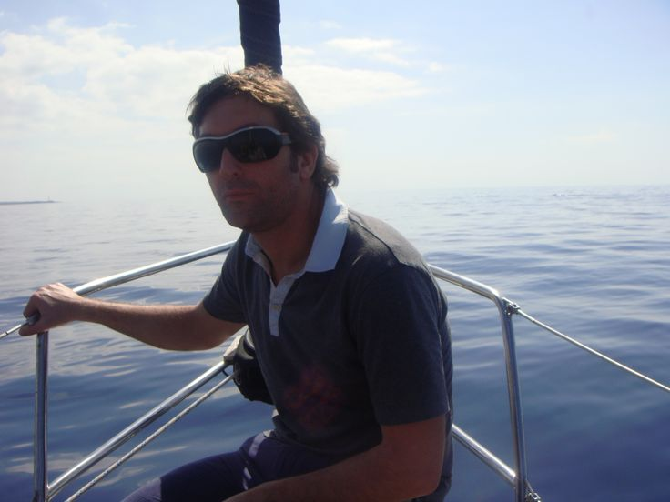 Leslie Benzies on a boat