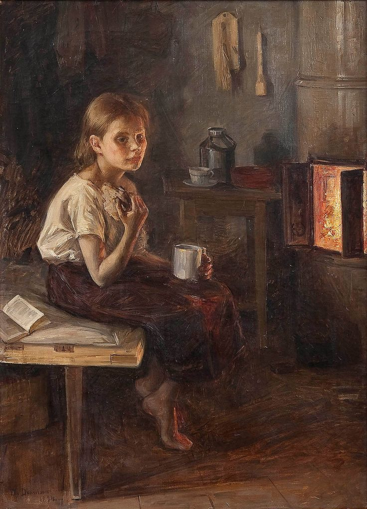 Elin Danielson-Gambogi - A Girl by the Oven (1894)