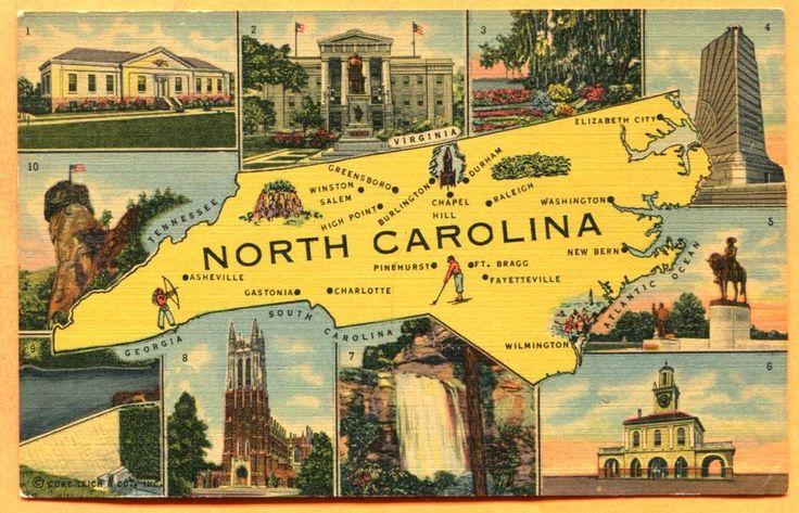 North carolina map postcard with landmarks circa 1940s