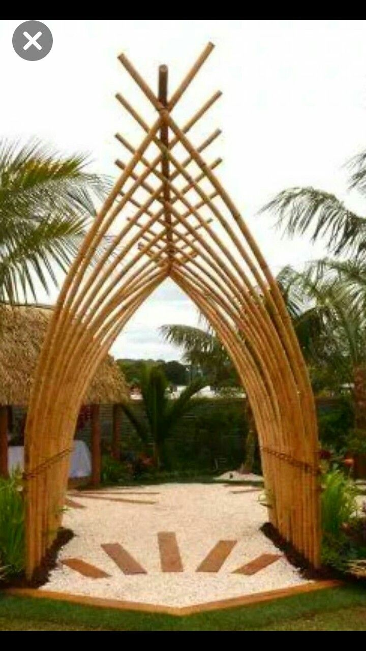 Nice Entrance Gate Made Of Bamboo Ide Berkebun