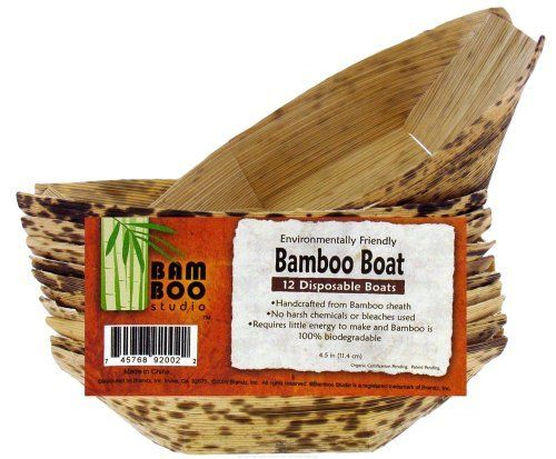 """Bamboo Studio - Bamboo Dinnerware Bamboo Boat Reusable Disposable 4.5"""" - 12 Pack by Bamboo Studio. $2.59. Bamboo Studio 12 (4.5"""") Reusable/Disposable Bamboo Boats Bamboo Studio Reusable/DisposableBamboo Boatsare part of Bamboo Studio's All-Occasion Bamboo Dinnerware collection. Bamboo Studio Bamboo Boats are strong and leak resistant. Bamboo StudioBamboo boatsare ideal to use in place of those other flimsy, disposable paper plates that bend under the weight of your food...."""
