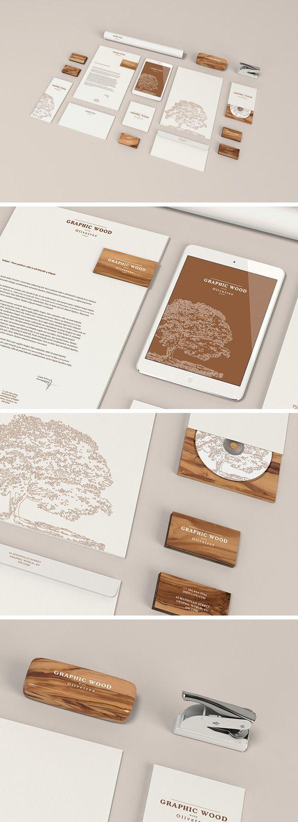 Mockup para imagen corporativa en madera