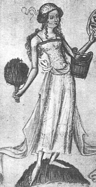 Bohemian Bathhouse Babes/Keepers - sleeveless chemise w/ back scrubber and bucket - Wenceslaus Bible