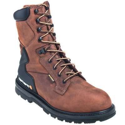 Carhartt Boots: Men's Brown CMW8100 Bison Waterproof Slip Resistant Work Boots