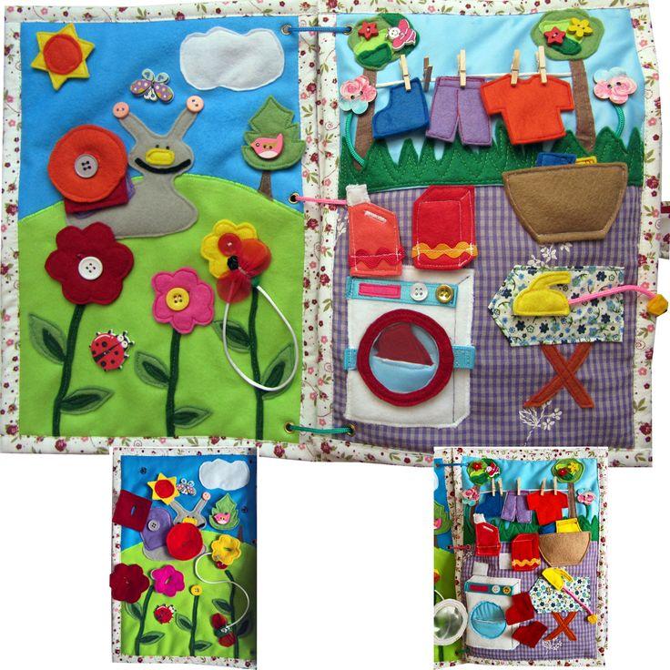 QUIET+BOOK+Rozměr+knihy:+30cm+x+22cm+Kniha+se+skládá+z8+stránek:+Šnek+-+šneček+má+ulitu,+která+se+skládá+zčerveného+čtverce+a+oranžového+kolečka.+Šneček+si+vyšel+na+louku,+kde+rostou+krásné+květinky,+jejichž+květy+(červená,+růžová,+žlutá)+se+mohou+různě+měnit+mezi+stonkami.+Na+žluté+květince+sedí+brouček,+který+se+dá+odepnout.+Stromeček+a+sluníčko+...