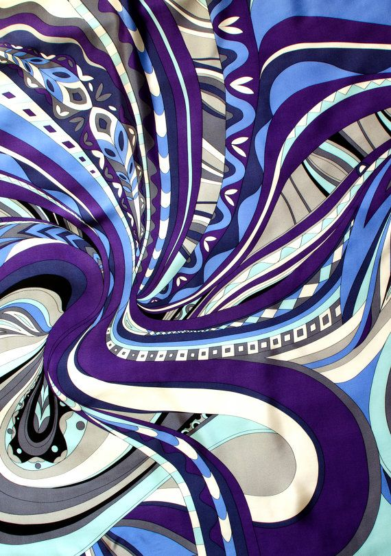 Pucci. Pucci scarf w border print. 140cm Square. Organic swirls in purples blues greys and blacks. Head wrap 60's 70's, Pucci vintage.