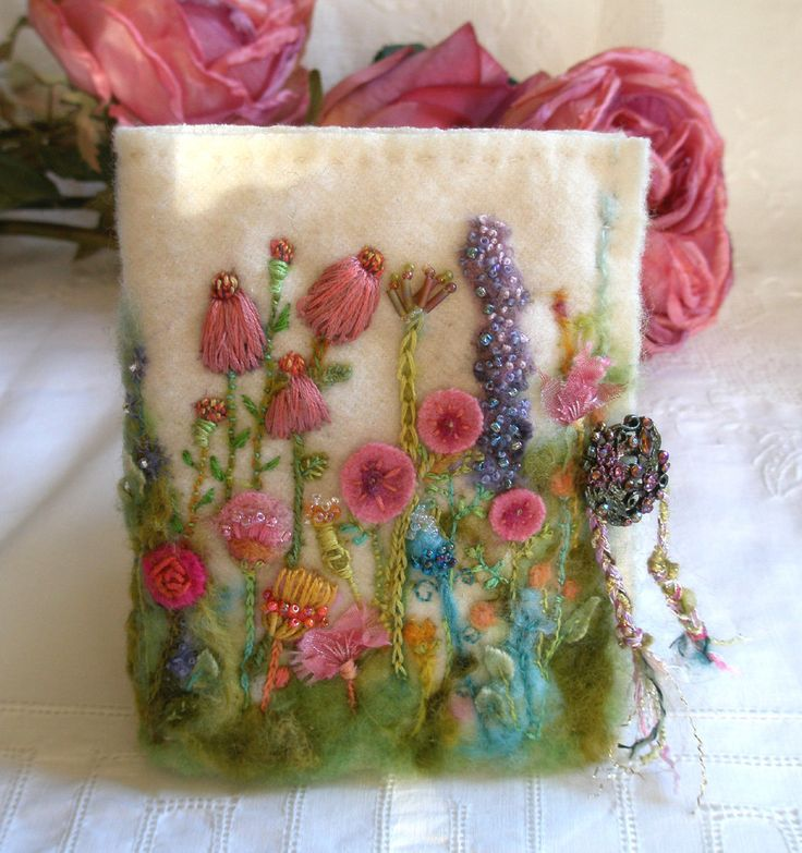 Needle Case Garden of Delight, Felted Wool with hand embroidery and beads