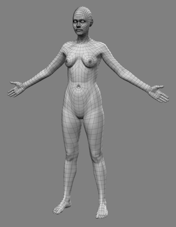 First Female character WIP - Polycount Forum