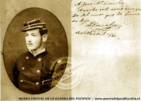Teniente Ismael Concha Osorio (1862-1884) Herido en el batallón Coquimbo durante la batalla de Chorrillos, luego destinado a la vigilancia de los valles de Libertad, en Perú, donde contrajo una enfermedad que le quitó la vida, paradójicamente cuando se aprestaba a regresar a su patria, a principios de 1884. Ref: Gentileza de don Cristián Arce.