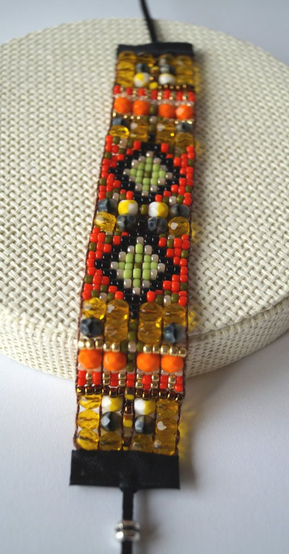 Bead loom bracelet, Bead woven bracelets, Statement jewerly, Gift idea, Seed bead loomed bracelets, Boho bracelets, Ethnic bracelet Colourful bead loom bracelet is made out of tiny Japanese glass beads. The style is inspired by ethnic textile patterns. It looks great with both elegant and