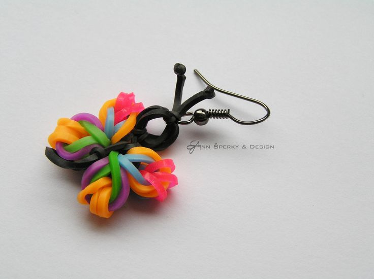Rainbow Loom - butterfly earrings - náušnice motýlek