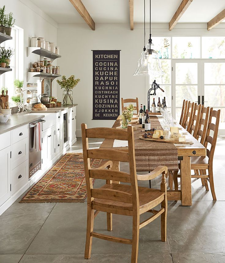 Why Not Use A Long Rustic Style Table In The Kitchen