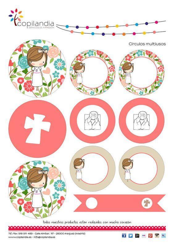 Kit Imprimible Comunion Flores por Kissthefrogeventos en Etsy:
