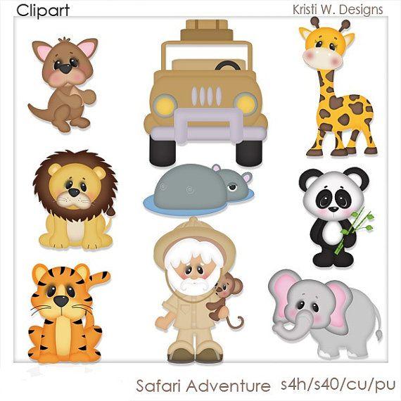 DIGITAL SCRAPBOOKING CLIPART Safari Adventure by BoxerScraps