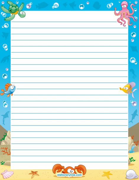 Good Printable Ocean Stationery And Writing Paper. Multiple Versions Available  With Or Without Lines. Free