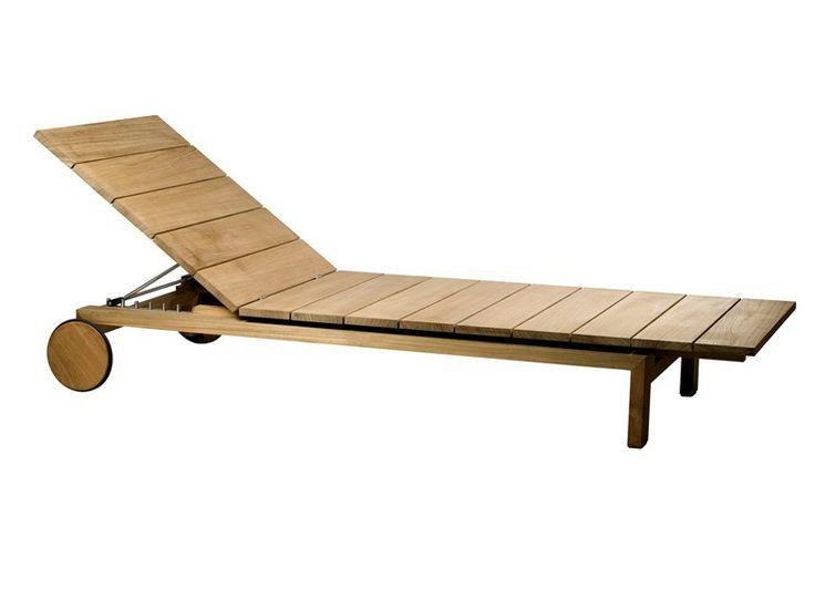 Chaise longue de jardin inclinable en teck à roulettes Collection Kos Teak by TRIBÙ | design Wim Segers