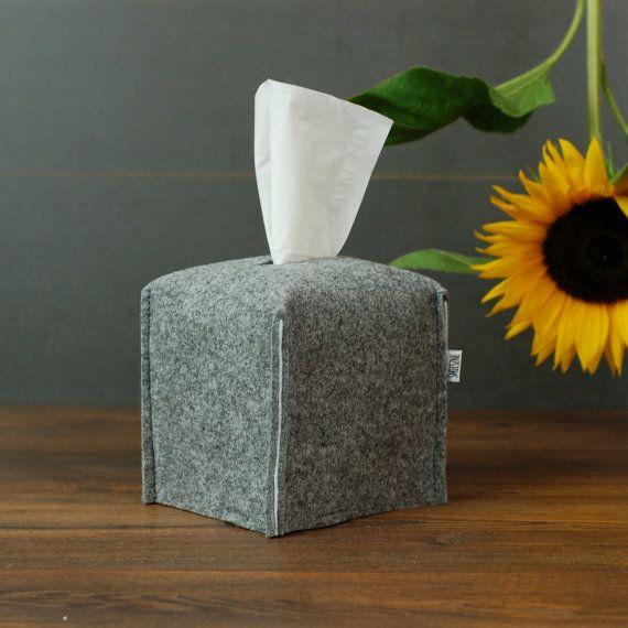 light grey and white felt tissue holder (custom options available)