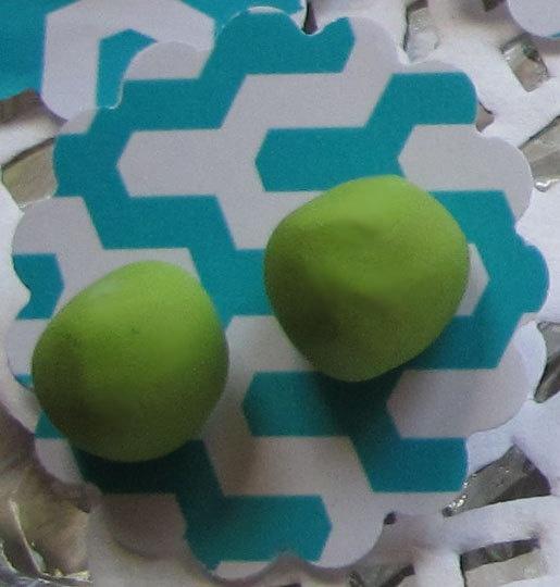 Handmade Neon Organic Dot Stud Earrings in Lime by DanidotDesigns, $16.00