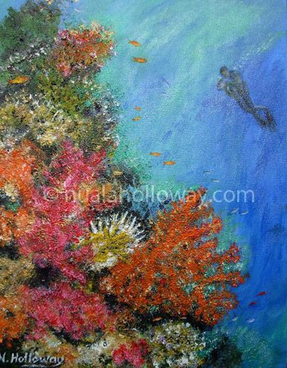 """Diver Discovers Hard and Soft Coral"" by Nuala Holloway - Oil and Sand on Canvas. Part of Nuala's ""Coral Collection"" bringing attention to the beauty of this important and endangered Oceanic eco-system #Coral #Oceans #Ecosystem"