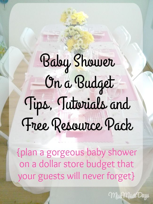 Baby Shower on a Budget!  Tips, tutorials and FREE Resource Pack.  Plan a gorgeous baby shower on a dollar store budget that your guests will never forget!